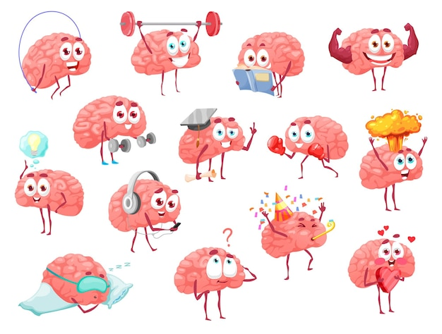 Personagens de desenhos animados do cérebro, brainstorm, saúde, esporte e lazer conjunto de vetores de atividade. mascote fofo com cara engraçada, exercitando com barra, tem uma ótima ideia, segure o coração. emoções felizes, conjunto divertido e isolado