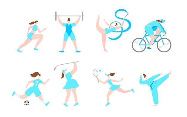 Personagens de desenhos animados do esporte profissional de mulheres. estilo de vida saudável fitness. atividades femininas de menina. ilustração plana