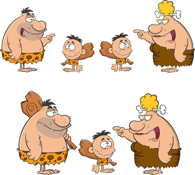 Personagens de desenhos animados do homem das cavernas.