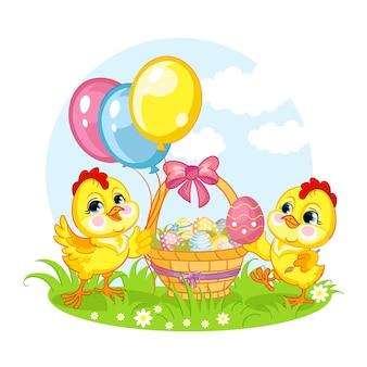 Personagens de desenhos animados, duas galinhas e uma cesta com ovos de páscoa. ilustração isolada em vetor.