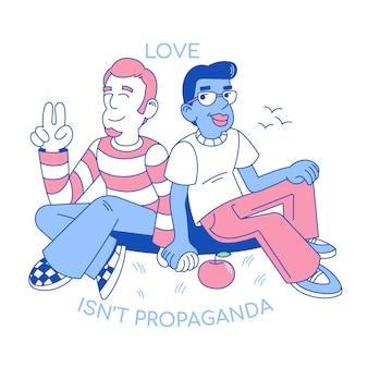 Personagens de desenhos animados em design plano, ilustração com dois homens de lgbt de amor segurar a mão juntos, amizade homossexual entre sorriso bonito meninos gays felizes.