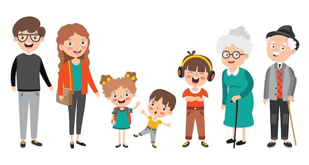 Personagens de desenhos animados em diferentes idades
