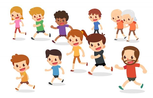 Personagens de desenhos animados em execução. corredores de maratona em várias idades. corrida divertida.