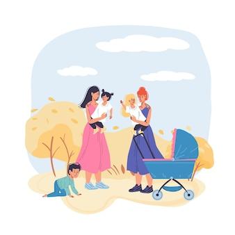 Personagens de desenhos animados em família feliz caminhando com carrinho de bebê