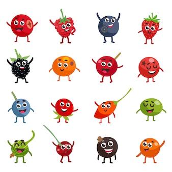 Personagens de desenhos animados engraçados bagas