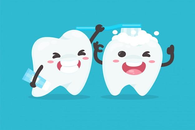 Personagens de desenhos animados, escovar os dentes para limpar os dentes conceito de dentista dental.