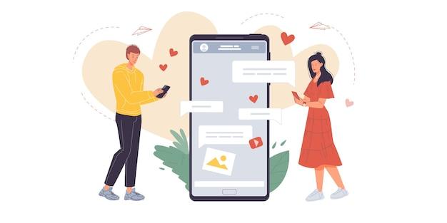 Personagens de desenhos animados escrevendo mensagens, trocando mensagens de texto