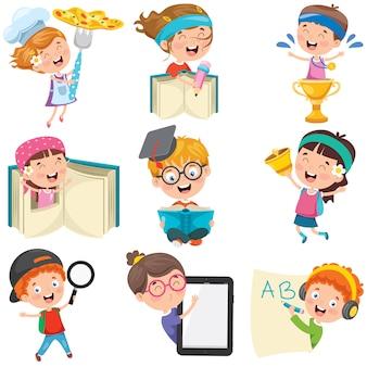 Personagens de desenhos animados, fazendo várias atividades