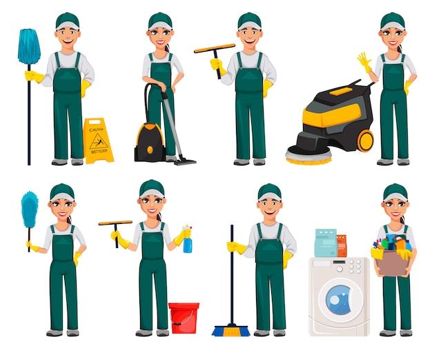 Personagens de desenhos animados homem e mulher mais limpas