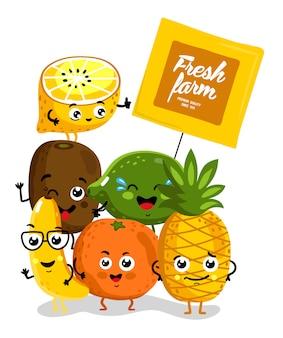 Personagens de desenhos animados isolados de fruta engraçada