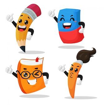 Personagens de desenhos animados, lápis, borrachas, cadernos e pincéis, polegares para cima nos dias de escola para estudantes