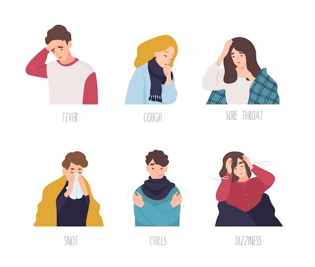 Personagens de desenhos animados masculinos e femininos demonstrando sintomas de resfriado comum - febre, tosse, dor de garganta, ranho, calafrios, tontura. coleção de homens e mulheres doentes ou doentes. ilustração plana