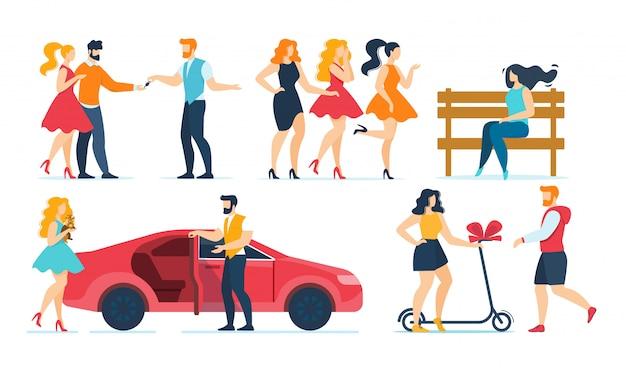 Personagens de desenhos animados moda pessoas resto plana conjunto