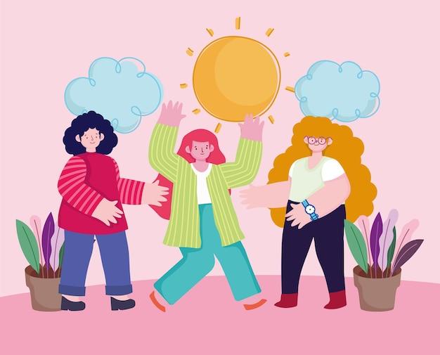 Personagens de desenhos animados mulheres juntas em trabalho de equipe