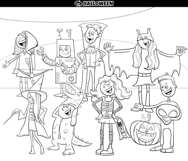 Personagens de desenhos animados na página do livro para colorir de festa de halloween