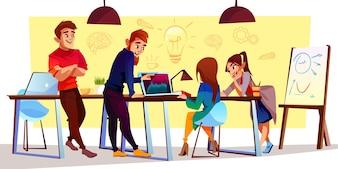 Personagens de desenhos animados no centro de coworking, espaço criativo. Freelancers, designers trabalham juntos