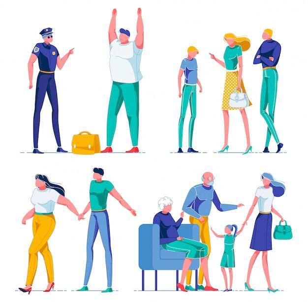 Personagens de desenhos animados pessoas em diferentes cenas.