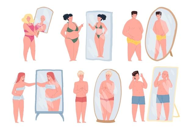 Personagens de desenhos animados planos, conceito de ilustração vetorial de problemas psicológicos