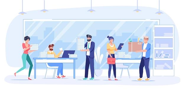 Personagens de desenhos animados planos de funcionários no trabalho, realizam tarefas. trabalhadores de escritório de funcionários com pressa, trabalham no laptop, carregam o fluxo de trabalho de coisas de escritório, conceito de banner de site de prazo
