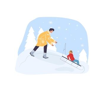 Personagens de desenhos animados planos em família fazendo atividades esportivas