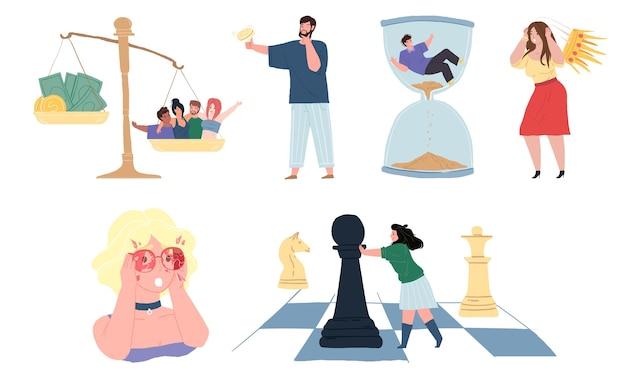 Personagens de desenhos animados planos em ilustrações de metáfora de atitude e problemas de vida, conjunto de conceito de vetor