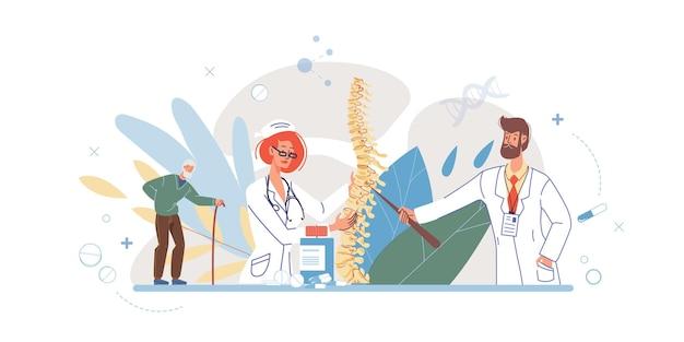 Personagens de desenhos animados planos médicos em ilustração de uniformes