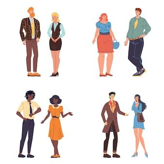 Personagens de desenhos animados que falam e se comunicam - várias pessoas, poses, tamanhos de corpo e emoções.