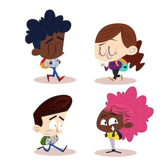 Personagens de desenhos animados retrô desenhados à mão com crianças e bolsas de livros