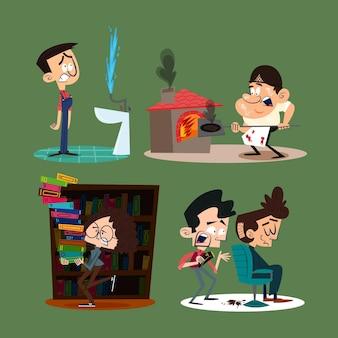 Personagens de desenhos animados retrô desenhados à mão com empregos