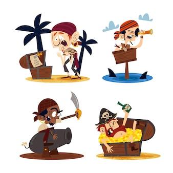 Personagens de desenhos animados retrô desenhados à mão com piratas