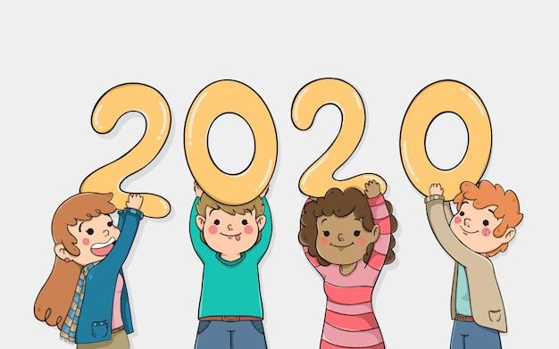 Personagens de desenhos animados, segurando o ano novo 2020