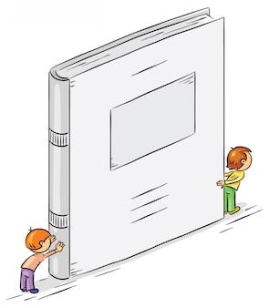 Personagens de desenhos animados, segurando um grande livro