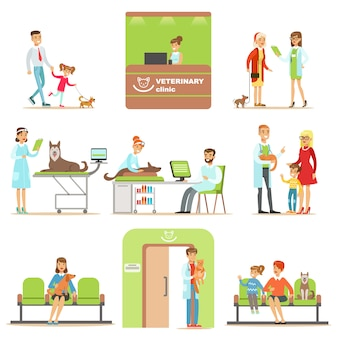 Personagens de desenhos animados, trazendo seus animais de estimação para exame veterinário na clínica veterinária coleção de ilustrações a sorrir