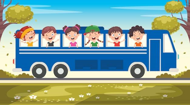 Personagens de desenhos animados, viajando com veículo