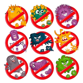 Personagens de desenhos animados vírus isolados