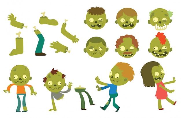 Personagens de desenhos animados zumbi