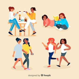 Personagens de design plano a passar tempo juntos