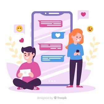 Personagens de design plano conversando sobre namoro app