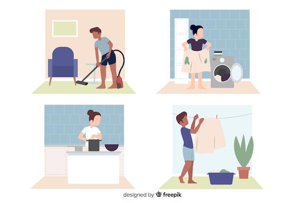 Personagens de design plano fazendo trabalhos domésticos
