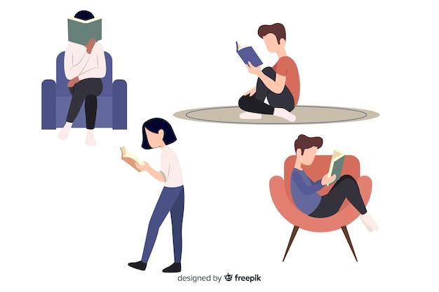 Personagens de design plano lendo em posições diferentes