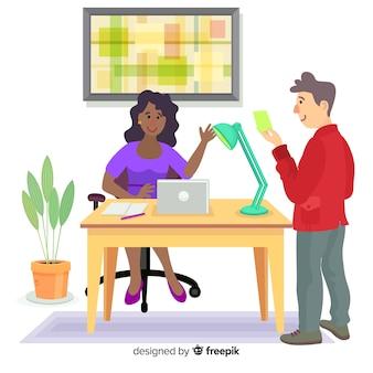 Personagens de design plano no trabalho de escritório