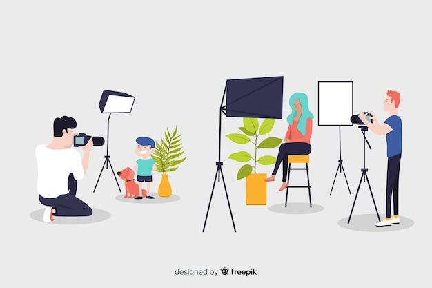 Personagens de design plano ocuparam fotógrafos