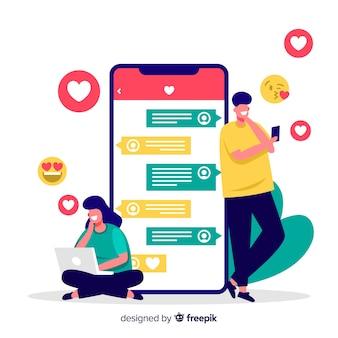 Personagens de design plano usando o aplicativo de namoro
