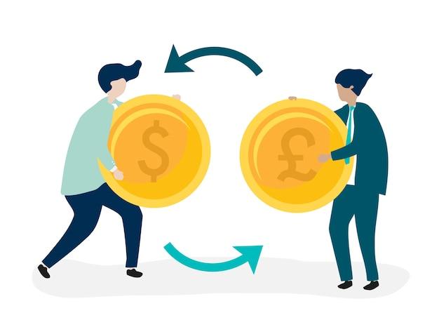 Personagens de dois empresários trocando moeda