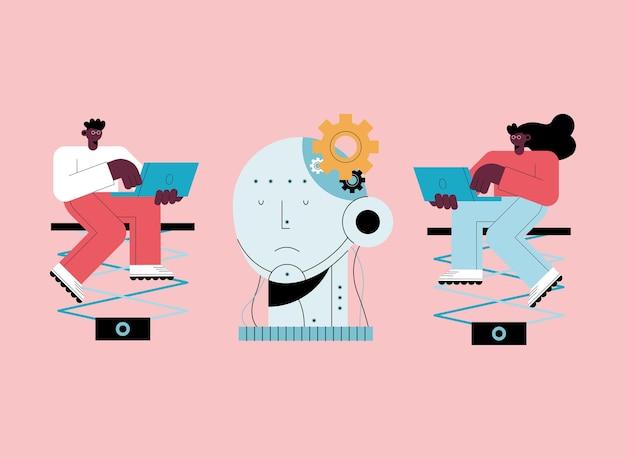 Personagens de dois usuários de inteligência artificial