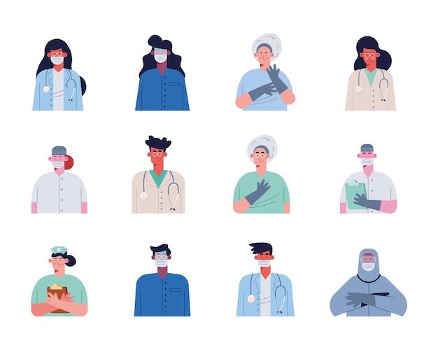 Personagens de doze médicos e trabalhadores
