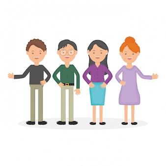Personagens de educação do grupo de jovens professores