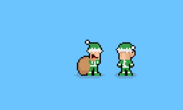 Personagens de elf bonito dos desenhos animados pixel art.