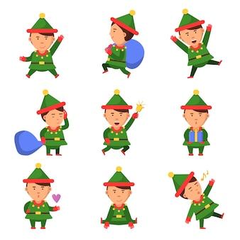 Personagens de elfo. coleção de mascote de natal anão ajudante de papai noel divertido pessoa dos desenhos animados de natal em pose de ação