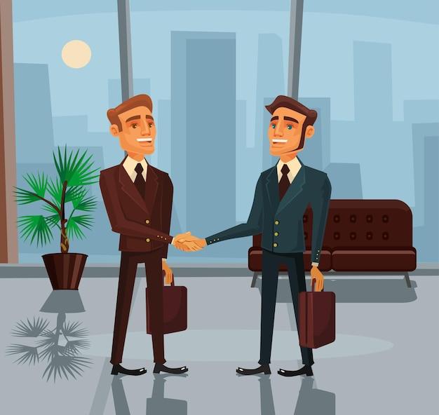 Personagens de empresários apertando as mãos dos desenhos animados
